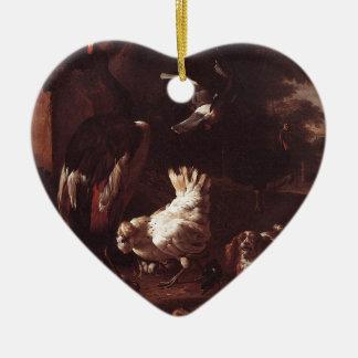 Pájaros y un perro de aguas en un jardín por el adorno de cerámica en forma de corazón