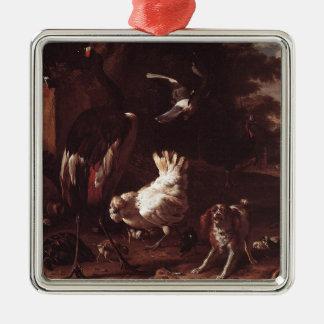 Pájaros y un perro de aguas en un jardín por el adorno cuadrado plateado