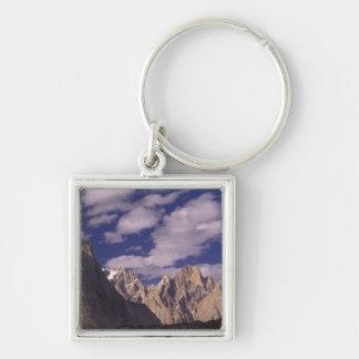 Pakistan, Baltoro Muztagh Range, Grand Cathedral Silver-Colored Square Keychain
