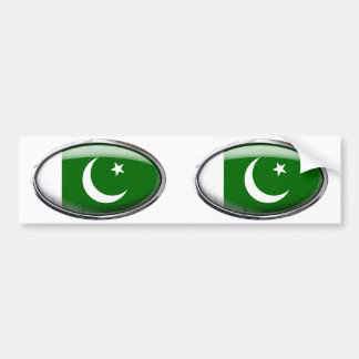 Pakistan Flag Glass Oval Bumper Sticker
