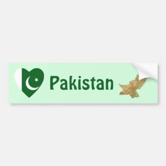Pakistan Flag Heart + Map Bumper Sticker
