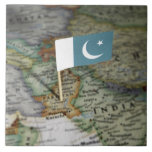 Pakistan flag in map large square tile
