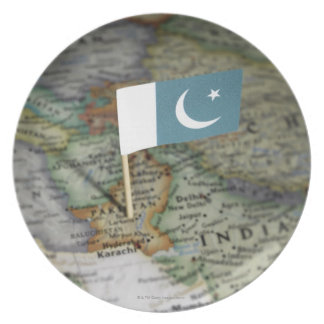Pakistan flag in map melamine plate