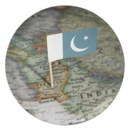 Pakistan flag in map dinner plate