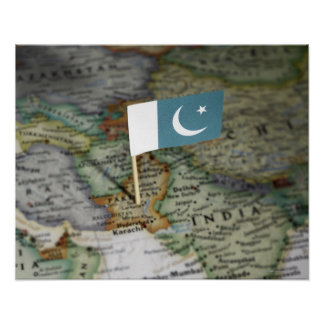 Pakistan flag in map poster