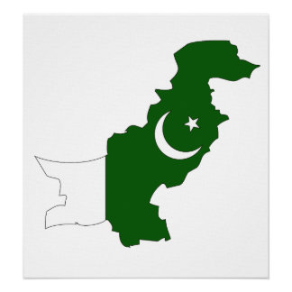 Pakistan Flag Map full size Poster