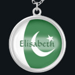 """Pakistan Flag   Name Necklace<br><div class=""""desc"""">The design for this attractive pendant features a name overlying the Pakistani flag,  which has been neatly morphed to fit the round shape. The featured name can be changed to any name or text of your choice,  creating a personalized gift for someone who loves Pakistan. &#169; 2011 FlagAndMap</div>"""
