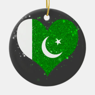 Pakistan Flag Shining Unique Double-Sided Ceramic Round Christmas Ornament