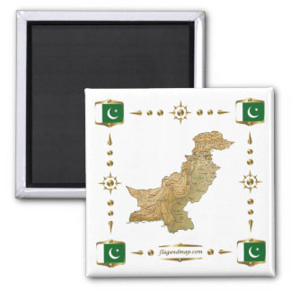 Pakistan Map + Flags Magnet