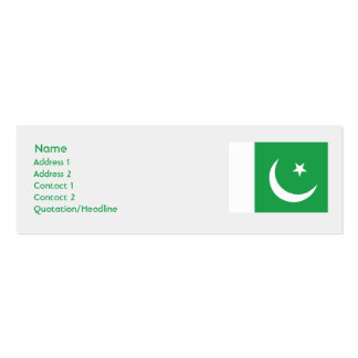 Pakistan - Skinny Double-Sided Mini Business Cards (Pack Of 20)