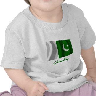 Pakistan Waving Flag with Name in Urdu Shirts