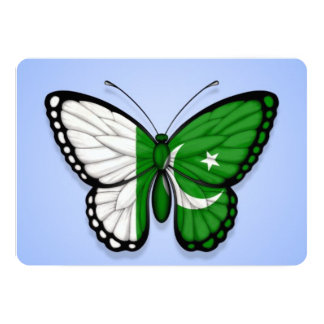 Pakistani Butterfly Flag on Blue 5x7 Paper Invitation Card