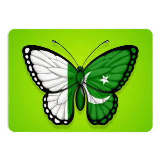 Pakistani Butterfly Flag on Green 5x7 Paper Invitation Card