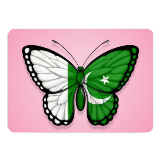 Pakistani Butterfly Flag on Pink 5x7 Paper Invitation Card
