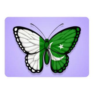 Pakistani Butterfly Flag on Purple 5x7 Paper Invitation Card