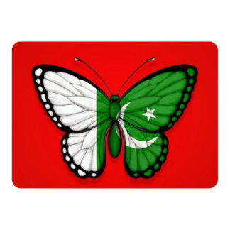 Pakistani Butterfly Flag on Red 5x7 Paper Invitation Card