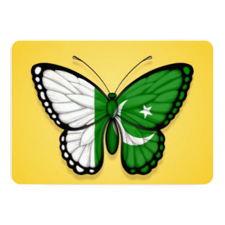 Pakistani Butterfly Flag on Yellow 5x7 Paper Invitation Card