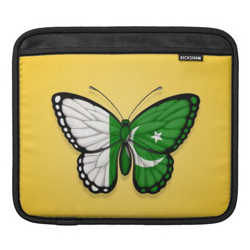 Pakistani Butterfly Flag on Yellow Sleeves For iPads