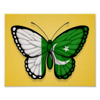 Pakistani Butterfly Flag on Yellow Poster