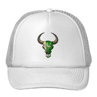 Pakistani Flag Bull Skull Trucker Hats