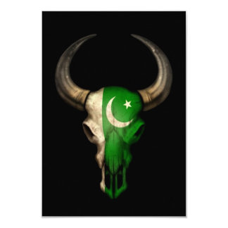 Pakistani Flag Bull Skull on Black 3.5x5 Paper Invitation Card