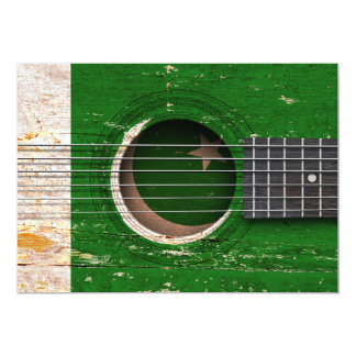 Pakistani Flag on Old Acoustic Guitar 5x7 Paper Invitation Card