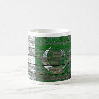 Pakistani Flag on Rough Wood Boards Effect Coffee Mug