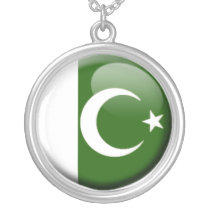 Pakistani flag silver plated necklace