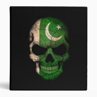 Pakistani Flag Skull on Black 3 Ring Binder