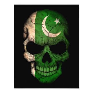 Pakistani Flag Skull on Black 4.25x5.5 Paper Invitation Card