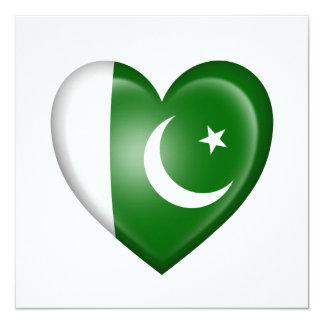 Pakistani Heart Flag on White 5.25x5.25 Square Paper Invitation Card