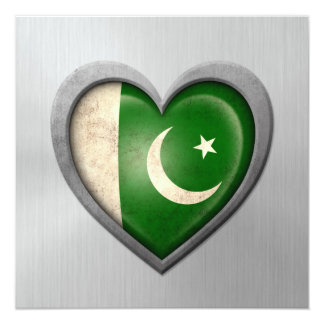 Pakistani Heart Flag Stainless Steel Effect 5.25x5.25 Square Paper Invitation Card