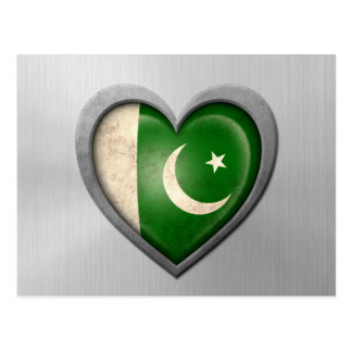 Pakistani Heart Flag Stainless Steel Effect Postcard