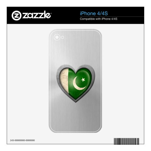 Pakistani Heart Flag Stainless Steel Effect Skins For The iPhone 4