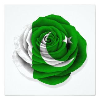 Pakistani Rose Flag on White 5.25x5.25 Square Paper Invitation Card