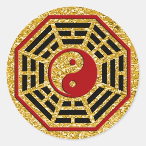 PaKua | gold splatter Round Stickers