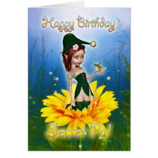 PAL secreto, tarjeta de cumpleaños - duende lindo