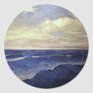 Pal Szinyei-Merse - water wave vintage. paintings Classic Round Sticker
