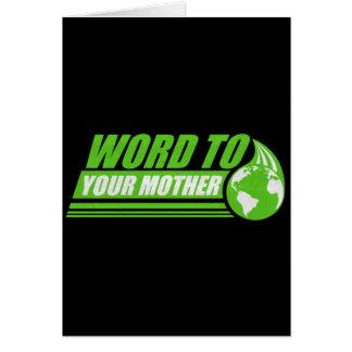 Palabra a su madre tarjeta de felicitación