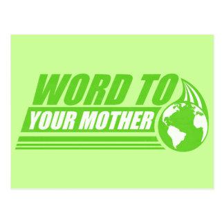 Palabra a su madre tarjetas postales