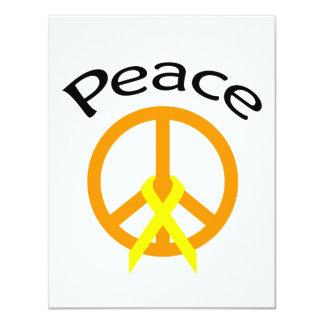 """Palabra anaranjada y cinta de la paz invitación 4.25"""" x 5.5"""""""