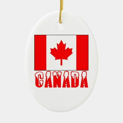 Palabra capsulada nieve de la bandera de Canadá Ornamento Para Arbol De Navidad