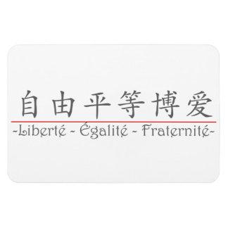 Palabra china para Liberté - Égalité - Fraternité Imán Rectangular