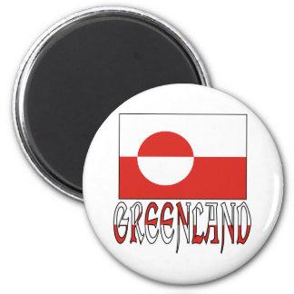 Palabra de la bandera de Groenlandia Imán Redondo 5 Cm