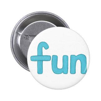 Palabra de la diversión en botones de la aguamarin pin