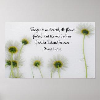 Palabra de nuestro poster del 40:8 de Isaías del v