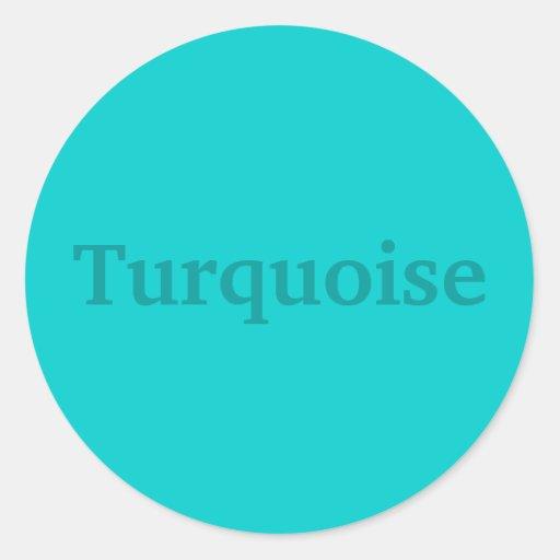 Palabra del color de la turquesa en los pegatinas etiquetas redondas