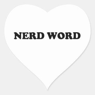 Palabra del empollón pegatina en forma de corazón