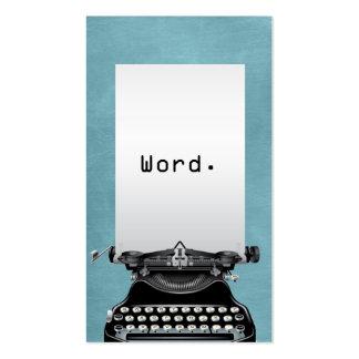 """""""Palabra. """"Escritor de la turquesa de la máquina Tarjeta De Visita"""