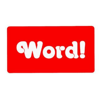 ¡Palabra! Etiqueta De Envío